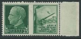 1942 REGNO PROPAGANDA DI GUERRA 25 CENT MNH ** - VA01-6 - 1900-44 Victor Emmanuel III.