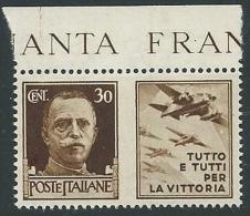 1942 REGNO PROPAGANDA DI GUERRA 30 CENT MNH ** - VA02-4 - 1900-44 Victor Emmanuel III.