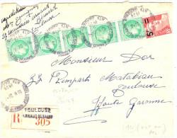 LGZ- AFFR.T SPECTACULAIRE GANDON 5f/6f ROSE + MAZELIN 2fx30 SUR RECOMMANDEE TOULOUSE XVILLE 23/4/1949 - 1945-54 Marianne De Gandon
