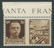 1942 REGNO PROPAGANDA DI GUERRA 30 CENT MNH ** - VA07-6 - 1900-44 Victor Emmanuel III.