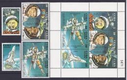 ESPACIO - CUBA 1991 - Yvert #3106/11+H124 ** - Precio Cat. €12.50 - Espace