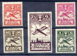 DANZIG 1924 Airmail Definitive Set MNH / **.  Michel 202-06 - Danzig