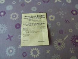 Bulletin D´Abonnement - Vieux Papiers