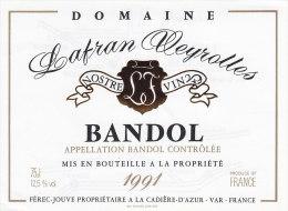 ETIQUETTE VIN BANDOL 1991 DOMAINE LAFRAN VEYROLLES CADIERE  D' AZUR 83 VAR  FEREC JOUVE - Vino Tinto