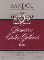 ETIQUETTE VIN BANDOL 1990 - DOMAINE COSTES GALLINES - CADIERE D' AZUR 83 VAR  - TOMASINI HAUTEMULLEFRENCH WINE LABEL- - Vino Tinto