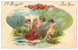 'A Bright New-Year' - Three Small Angels - Circa 1918 - Embossed - Angels