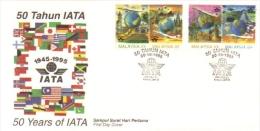 15W : Malaysia FDC 50 Years IATA, Airways, Airlines, Opera House, Tower Bridge, Pramid Etc - Malaysia (1964-...)
