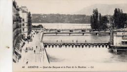 GENEVE  48 QUAI DES  BERGUES  ET LE PONT  DE LA MACHINE - GE Genève