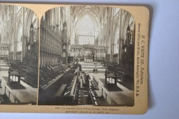 Photographie XIXème Vue Stéréoscopique The Beautiful Choir Of York Minster York England - Photos Stéréoscopiques