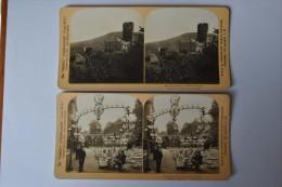Photographie XIXème Vue Stéréoscopique Lot De 2 Vues D'Allemagne Castle Lahneck & Kroll's Beer Garden Berlin Germany - Photos Stéréoscopiques