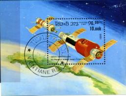 LAOS - 1986 ARRIMAGE SOYOUZ-SALIOUT N° Y&T 87  BLOC OBLITERE - Space