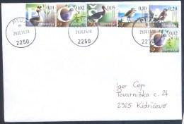 2015 Fauna Birds Cover First Day: Vogel Oiseaux GREBE,STARK,PLOVER,DOVE,SNOWFINCH; Schwarzstorch Hohltaube Schneefink - Birds