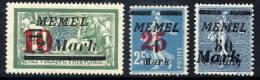 MEMEL (Lithuanian Occ) 1923 (Jan) Surcharge Set MNH / **.  Micchel 121-23 - Klaipeda