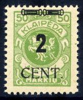 MEMEL (Lithuanian Occ) 1923 (May) 2 CENT. On 50 Mk. MNH / **.  Michel 185 - Klaipeda