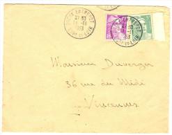 LGZ - GANDON 5f ET 10f SUR LETTRE DREUX ENTREPOT / VINCENNES 11/11/1953 - 1945-54 Marianne Of Gandon