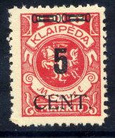 MEMEL (Lithuanian Occ) 1923 (May) 5 CENT. On 100 Mk. MNH / **.  Michel 188 - Klaipeda