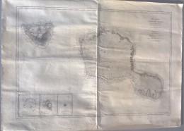 CARTE  -  OCEAN PACIFIQUE  -  TAHITI ET MOOREA  -  1876 - Cartes Marines