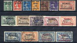 MEMEL 1920-22  Overprints On France Set  Of 16 Used.  Michel 18-33 - Klaipeda