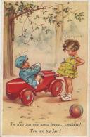 ENFANTS - LITTLE GIRL -  Jolie Carte Fantaisie Fillette Et Petit Garçon Dans Automobile Signée GERMAINE BOURET - Bouret, Germaine