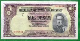 8 URUGUAY -Emitidos Desde 1939 A 1966- Bill. Nº 40-Bco. República O.del Uruguay-1 Bill. De 1000 - Uruguay