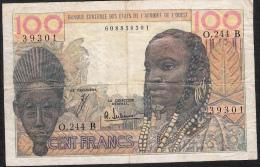 W.A.S. BENIN P201Bf  100 FRANCS  1961 ND  Signature 4  AVF No P.h. ! - Benin