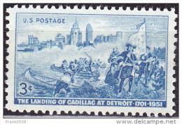 USA 1951, Landing Of Cadilac At Detroit, MNH - United States