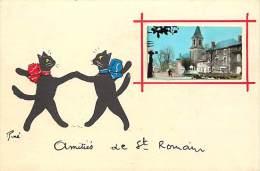 - Ref G557 - Chat - Chats - Chats Noirs De Rene Avec Medaillon - Amities De Saint Romain -st Romain A Identifier - - Chats