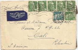 1945 CORREO AÉREO - FRANCIA, CANCELACIÓN MIXTA DE RODILLO ORDINARIA DE 5 LÍNEAS ONDULADAS Y CIRCULAR DE TAMPÓN - Luftpost