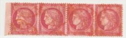N°57 BANDE DE 4 TIMBRES BORD DE FEUILLE CACHET ROUGE AVEC VARIÉTÉ. - 1871-1875 Ceres