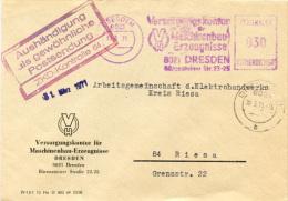 K3021 Brief DDR St. AFS Dresden N. Riesa ZKD Kontrolle - Covers