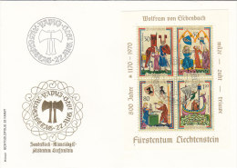 LIECHTENSTEIN BLOCK 8 FDC, Moinnesänger Wolfram Von Eschenbach - Blocks & Sheetlets & Panes