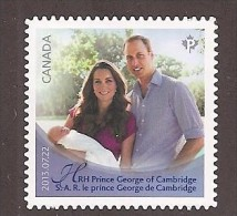CANADA 2013. # 2686i,  THE ROYAL INFANT, PRINCE GEORGE DE CAMBRIDGE DIE CUT FROM QUARTELY PACK  From  BKLET - Carnets