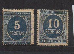 M046..-.SPAIN/ESPAÑA.. -. 1855 .-. ED#: 236,237 .-. USED .-. IMPUESTO DE GUERRA / WAR TAX - Ongebruikt
