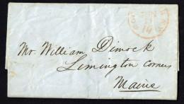 1851  Folded Letter  Red Rochester NY 10 To Livingston Corner ME -  Family - …-1845 Vorphilatelie