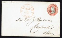 1861  Threee Cent Washington Prestamped Envelope New Haven CT To Cleveland OH    Sc U5   CV $900