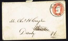1853  Threee Cent Washington Prestamped Envelope  Troy NY To Danby VT  Sc U3