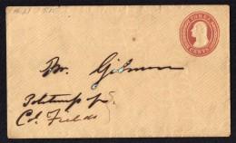 1853  Threee Cent Washington Prestamped Envelope Sc U10  Uncancelled