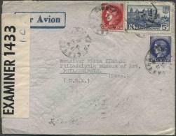 1941 Francia, 25 Novembre  Lettera Per Gli Stati Uniti - Storia Postale