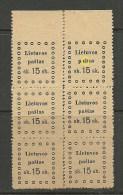 LITAUEN Lithuania 1919 Michel 21 Kaunas Issue 6-Block + ERROR Variety - Lithuania