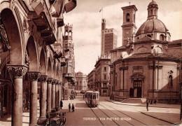 "01639 ""TORINO - VIA PIETRO MICCA"" ANIMATA, TRAMWAY, AUTO LANCIA E FIAT '50/60. CART. ORIG.  SPEDITA - Churches"