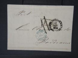 """FRANCE-Cad Eb Bleu """"Prusse 3 Erquelines"""" Sur Lettre (avec Texte) De St Petersbourg Pour Bordeaux En 1866  à Voir   P5735 - Poststempel (Briefe)"""