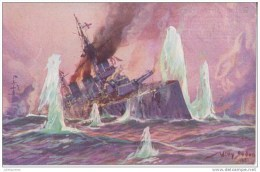 BATEAUX DE GUERRE ALLEMAND DUS BEM GEEGEFECHT IN DER RORDFEE AN 1915.CPA BON ETAT - Krieg
