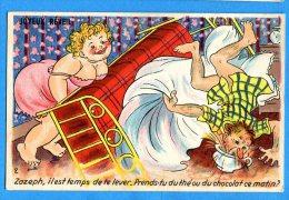 LIP289, Zazeph, Il Est Temps De Te Lever.... , Joyeux Réveil, Sein, Couple, Fantaisie, Circulée  Sous Enveloppe - Humour
