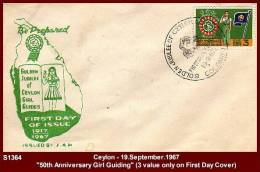 """S1364 CEYLON  19.September.1967 (First Day Cover) - """"50th Anniversary Ceylon Girl Guiding""""  - Scouting - Scouting"""