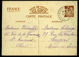 Carte Postale --- Iris 90 C --- Correspondance Zone Libre Zone Occupée --- Saint-Amand (18) - Angers (49) - Standard- Und TSC-AK (vor 1995)