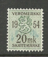 FINLAND Steuermarke Revenue Tax 20 Markka 1954 O - Fiscales
