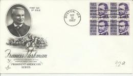 ESTADOS UNIDOS USA FDC 1967 BOSTON FRANCIS PARKMAN HISTORIADOR DEL OESTE INDIGENA - American Indians