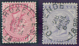 N°38 Obl. Sc BRUXELLES 7 + N°41 Obl. Sc OSTENDE 28 Avril 1886.  Belles Oblitérations Centrales - 10634 - 1883 Leopold II