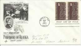 ESTADOS UNIDOS USA FDC 1967 SITKA PURCHASE ALASKA IDOLO INDIGENA INDIO AMERICANO REMITENTE CORTADO - American Indians