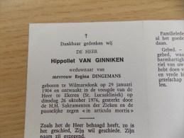 Doodsprentje Hippoliet Van Ginniken Wilmarsdonk 29/1/1904 Ekeren 26/10/1976 ( Regina Dingemans ) - Religione & Esoterismo